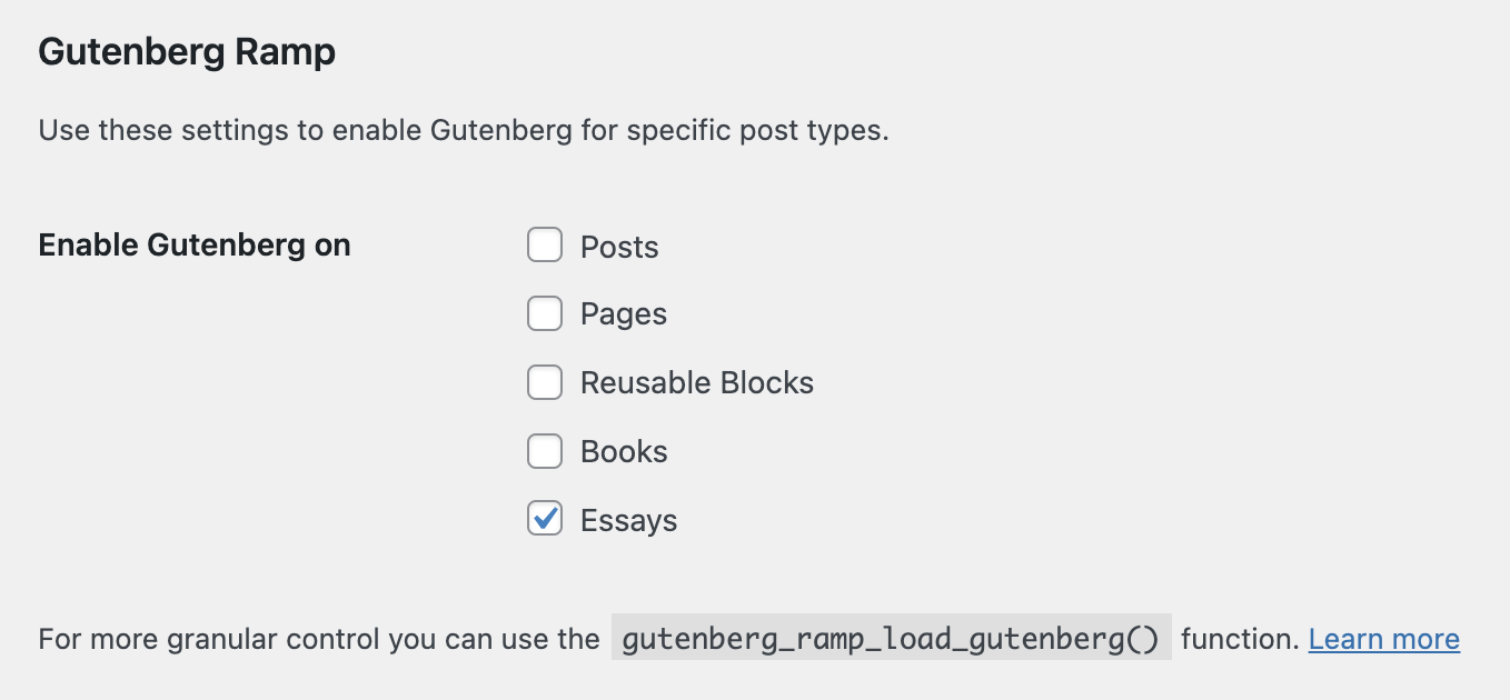 Gutenber Ramp settings screen showing how to choose the post types that will use Gutenberg