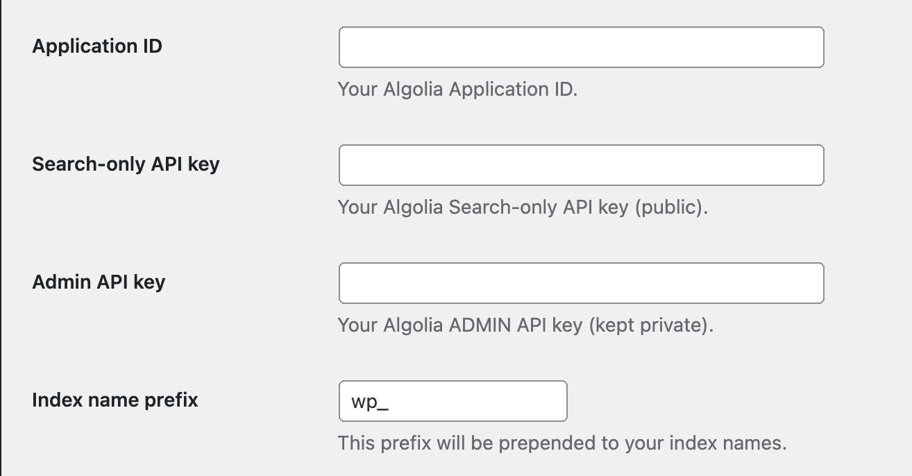 Algolia Search WordPress plugin configuration