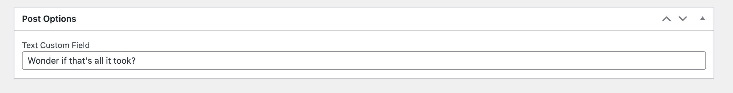 WordPress custom metabox viewed in the classic editor