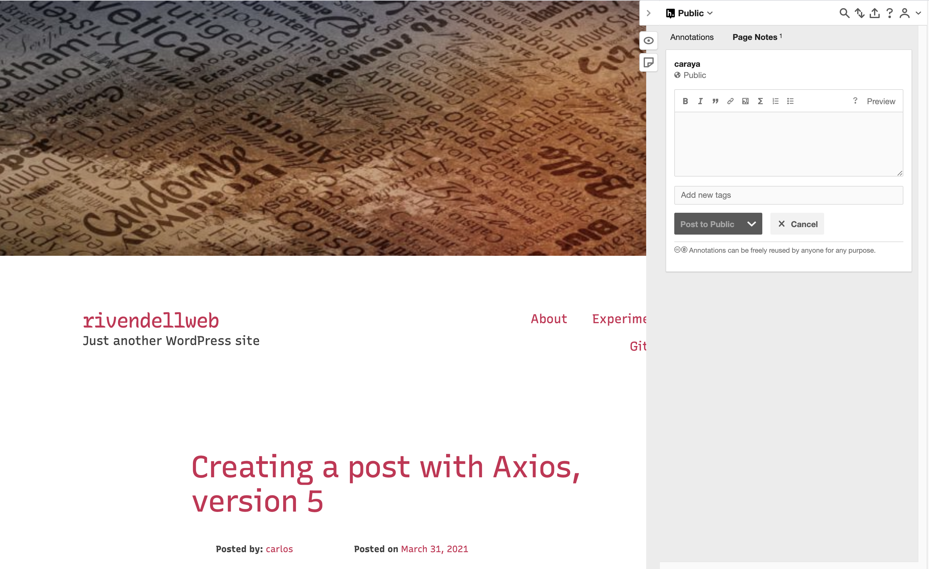 Hypothes.is running on a WordPress site