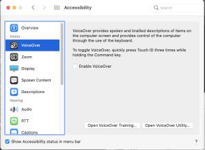 macOS Big Sur Voice Over accessibility preferences.