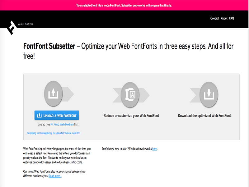 FontFont Subsetter result when uploading Roboto font