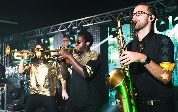 Horns section perform with the best kent wedding bands