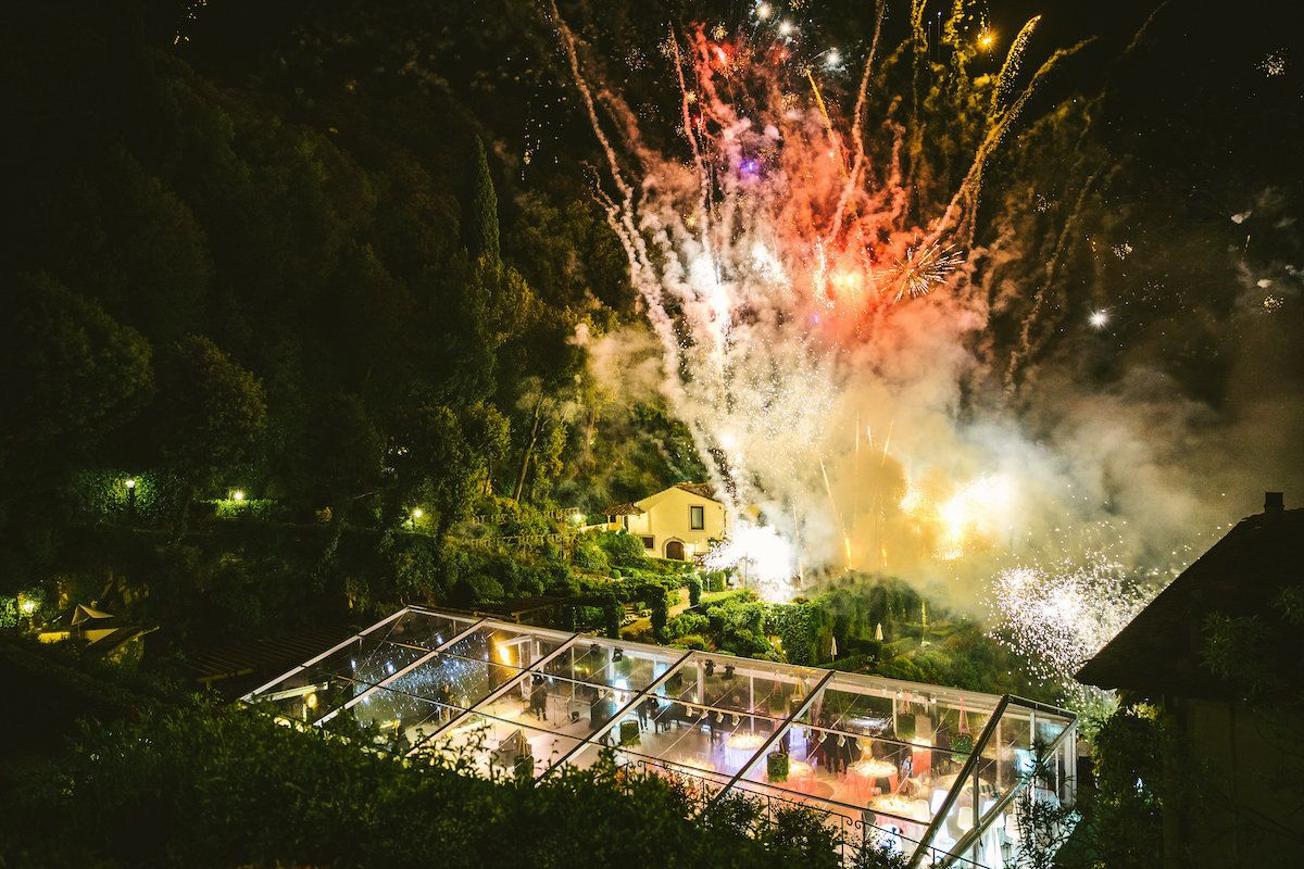 Jam Hot firework show at a Wedding