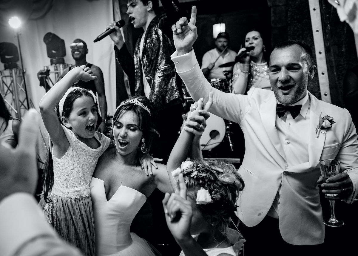 Bride and groom on the dance floor at a Jam Hot wedding