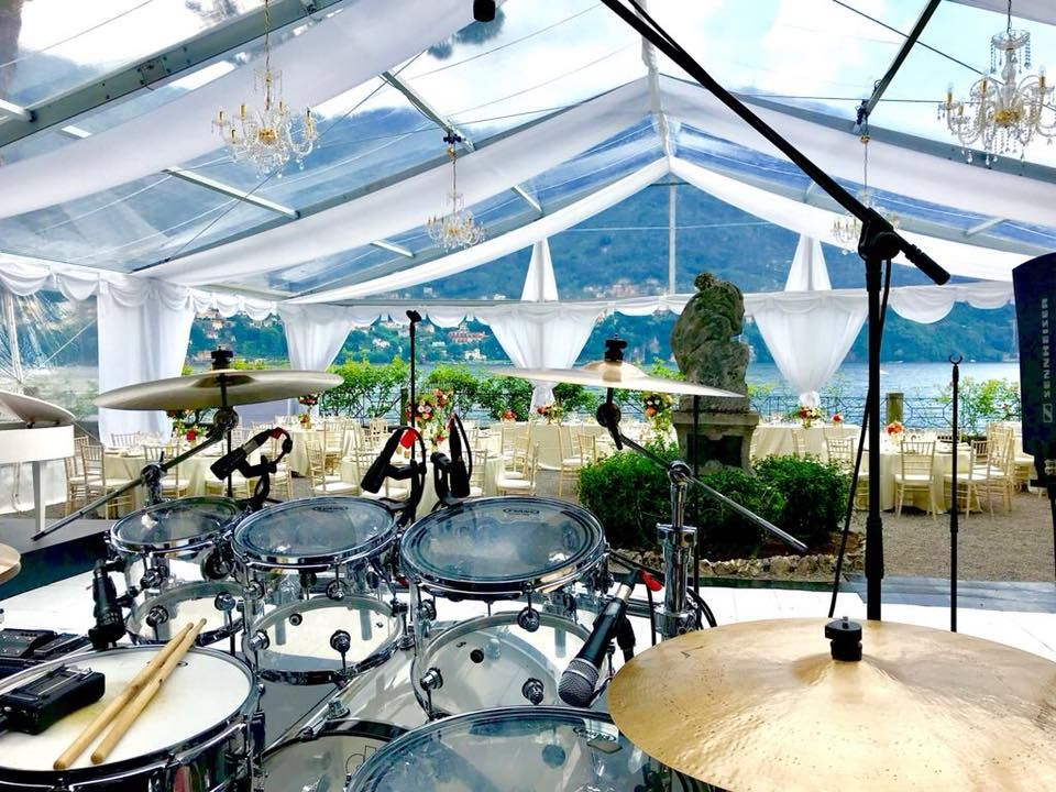 View from behind the drums at a Jam Hot wedding