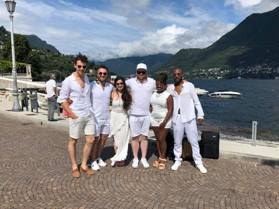Jam Hot wearing all white about to join a Boat Party