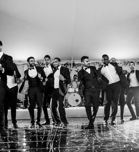 Jam Hot Indian Wedding Band performing with full dance floor