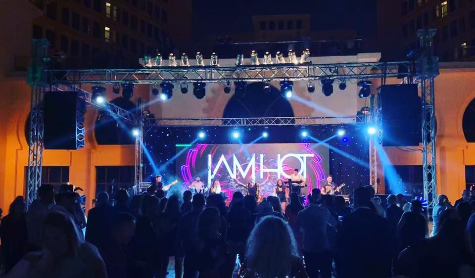 Jam Hot stage set up, with LED screen and Moving heads