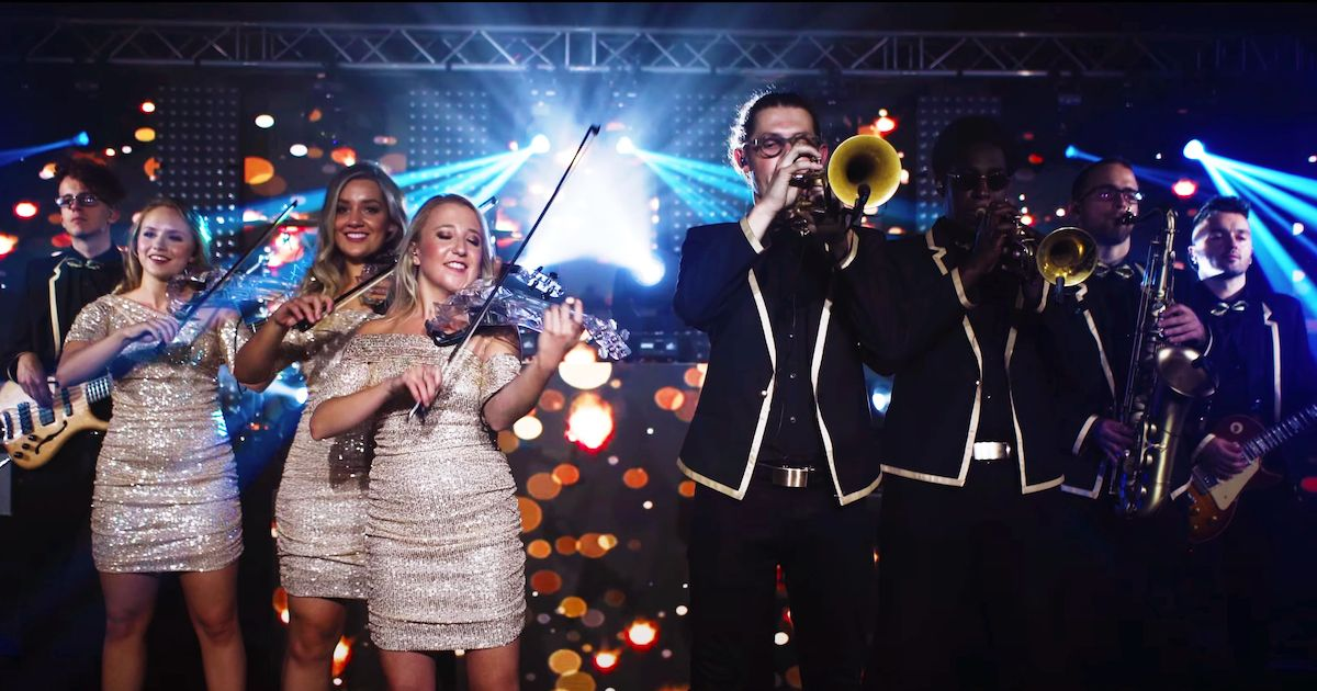Jam Hot showband live horns and electric strings line-up
