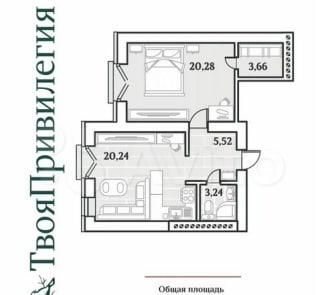 1-к квартира, 54.3 м², 3/3 эт.