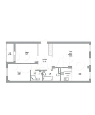 3-к квартира, 90.1 м², 1/18 эт.