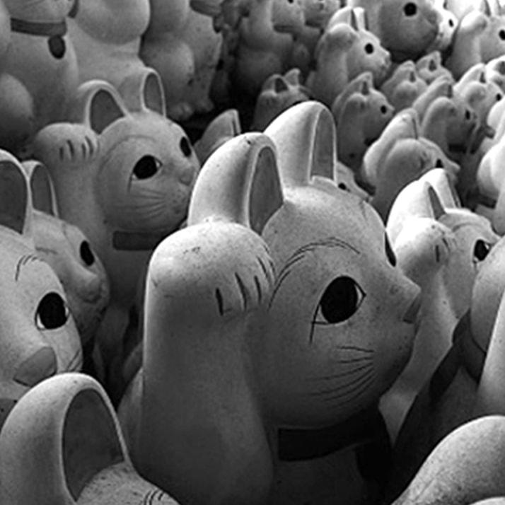 Group of maneki-neko figurines
