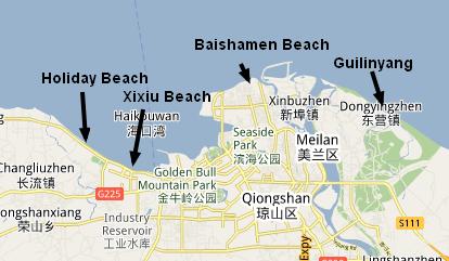 Map of Haikou's Beaches