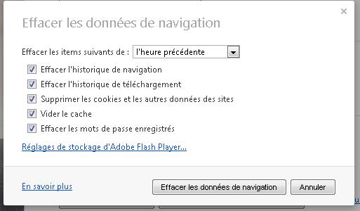 Vie privée - Effacer données de navigation
