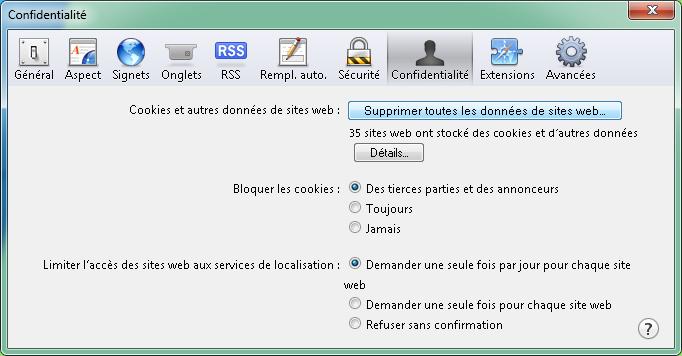 Confidentialité - Supprimer toutes les données de sites web