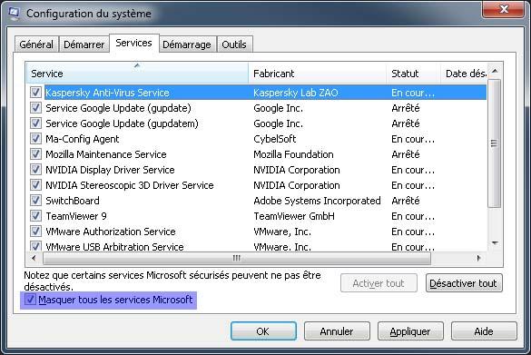 Services - Cochez 'Masquez tous les services Microsoft'