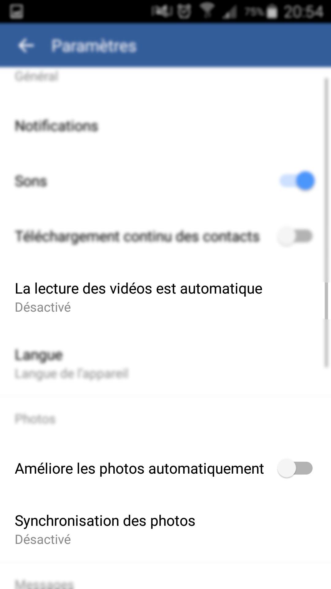 Facebook - Lecture des vidéos automatique - Améliore les photos - Synchronisation des photos = désactivé