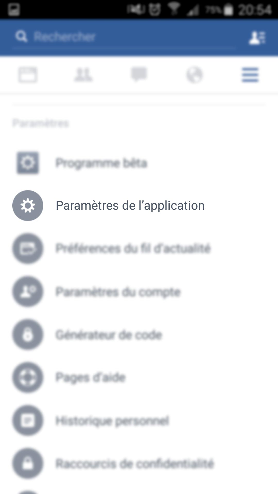 Facebook - Paramètres de l'application