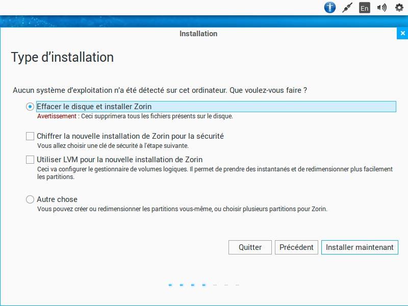 Installation - Type d'installation