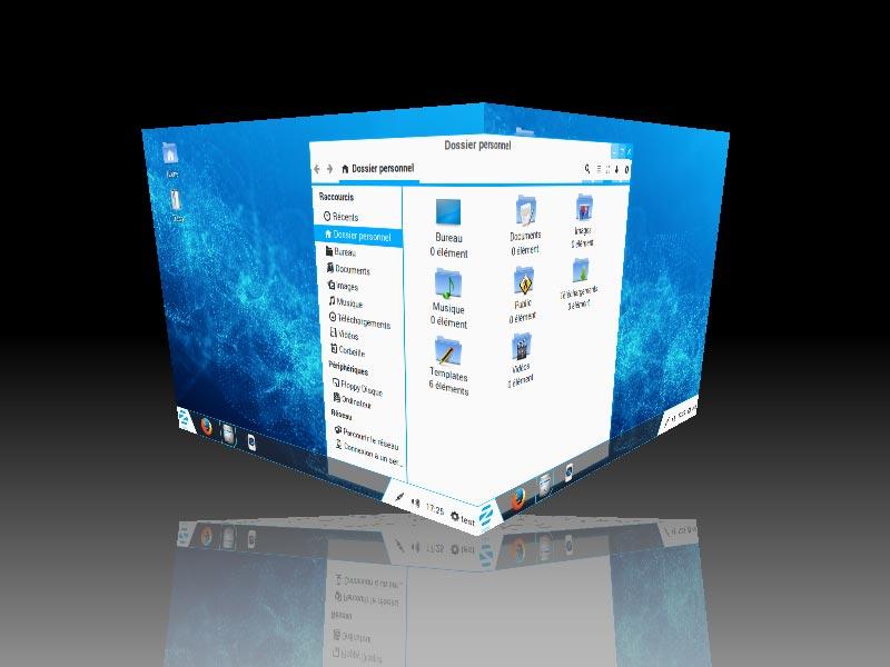 ZorinOS - Changement de bureau (effet 3D)