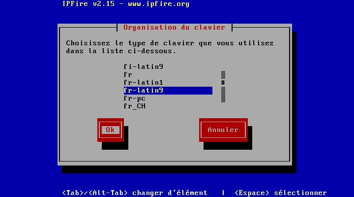 Choix du clavier en France choisir 'fr-latin9'