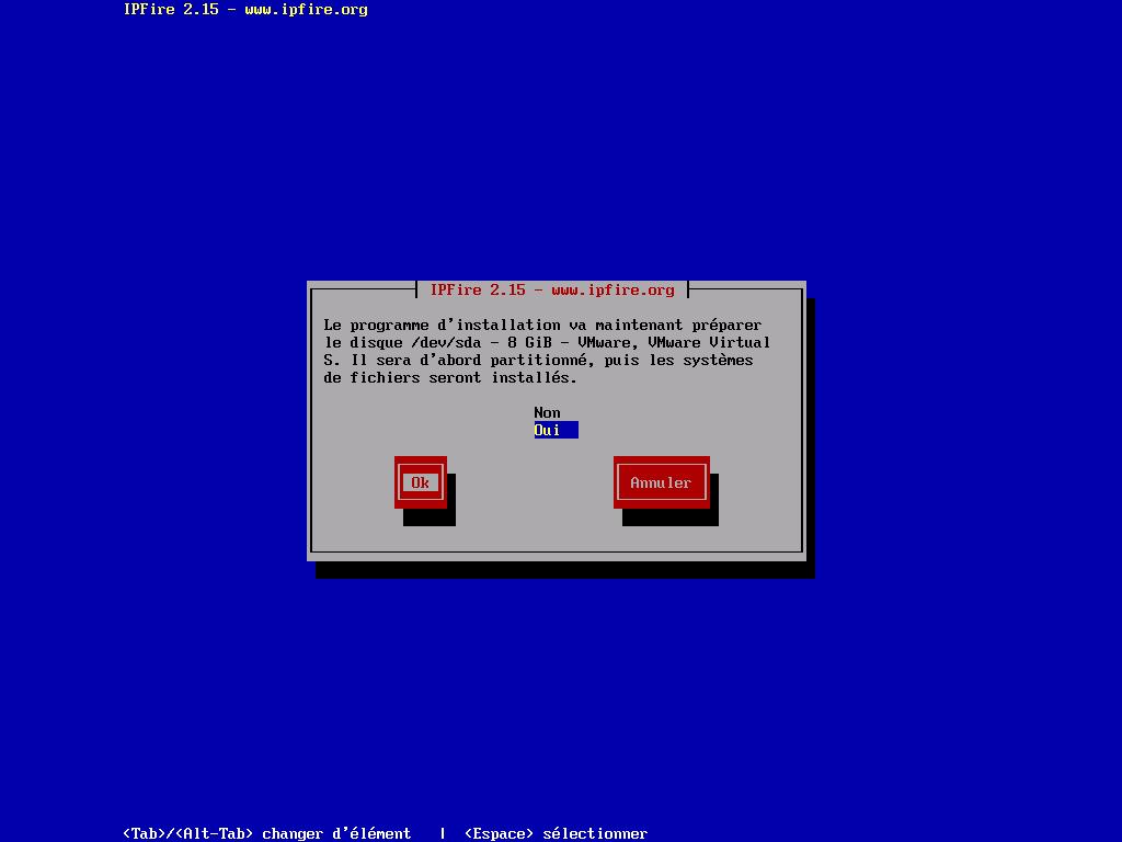 Préparation du disque dur