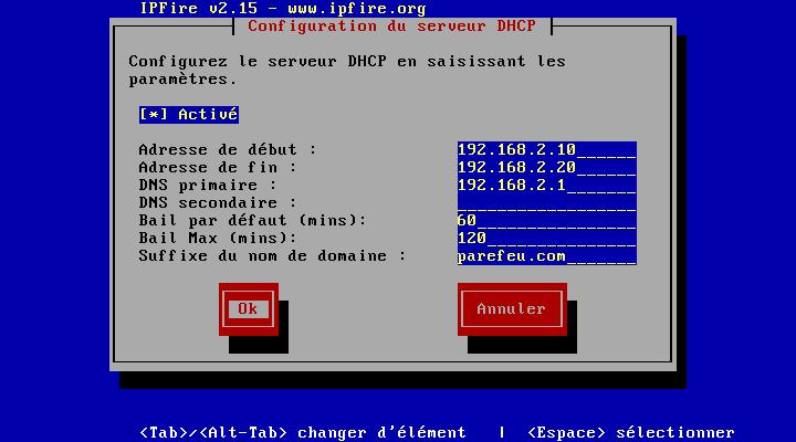 Configuration du serveur DHCP (coté GREEN)