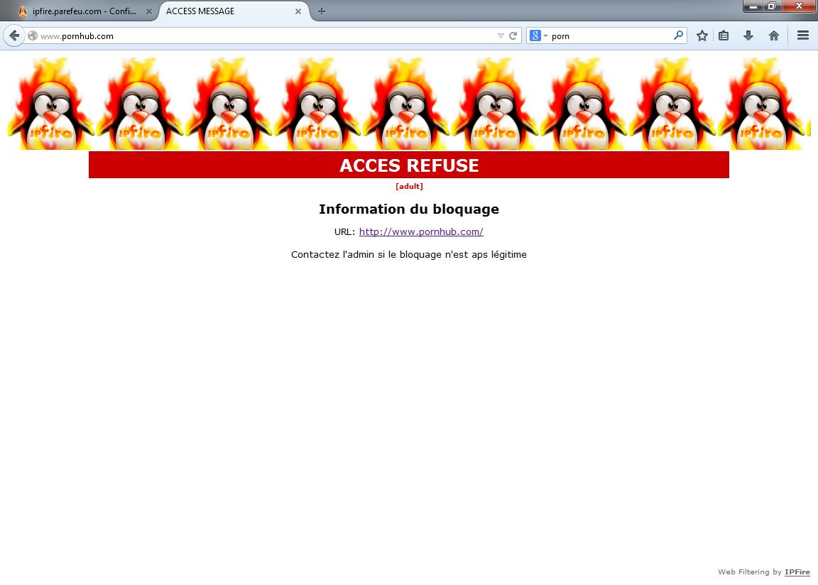 Exemple de blocage web (site porno)