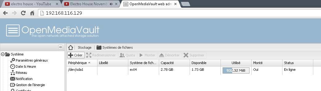 Aller sur la gauche 'Système de fichiers' Puis cliquez sur 'Créer'