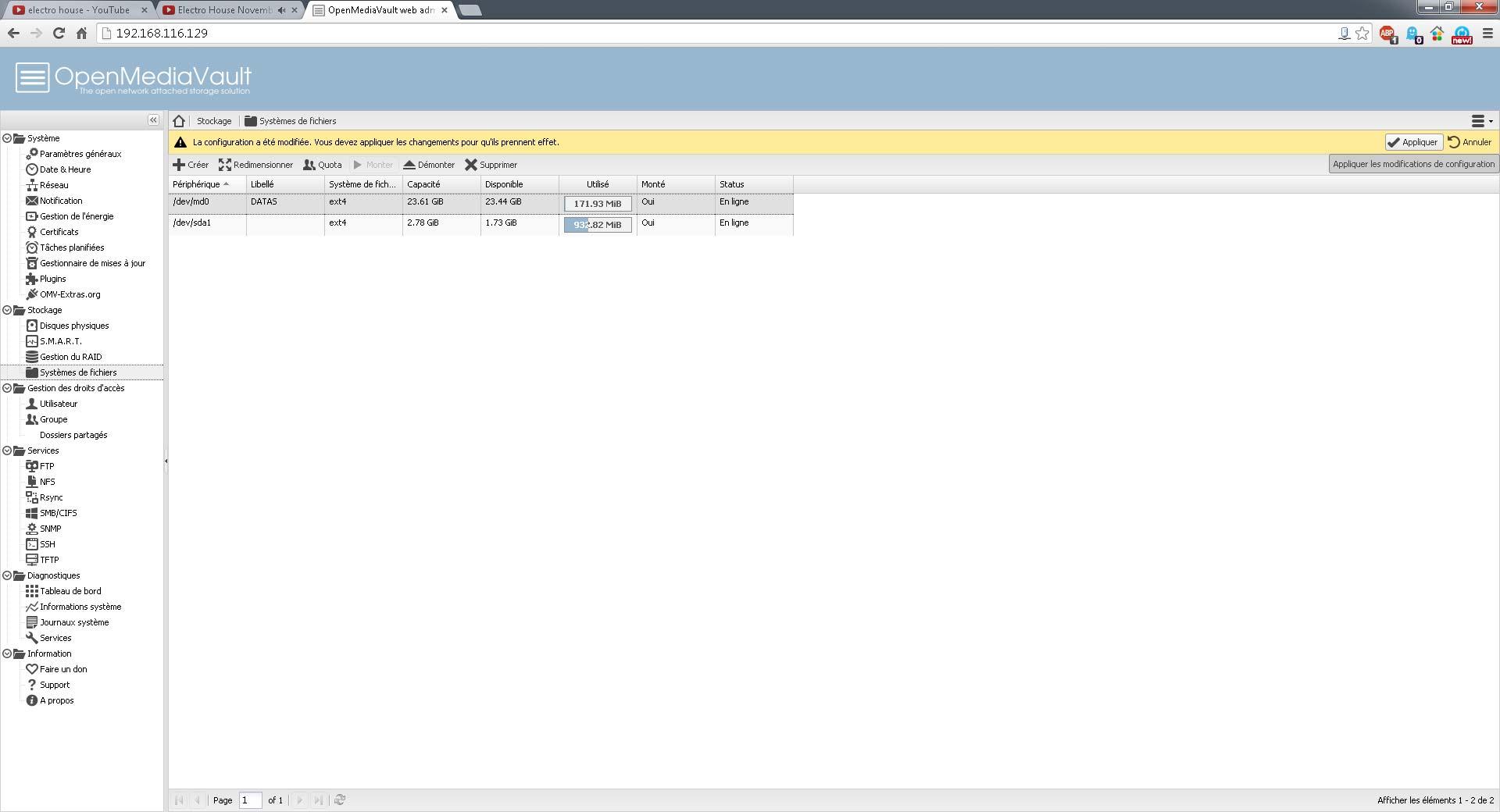 Nous avons maintenant la capacité total de notre système de fichier. Cliquez sur 'Appliquer'
