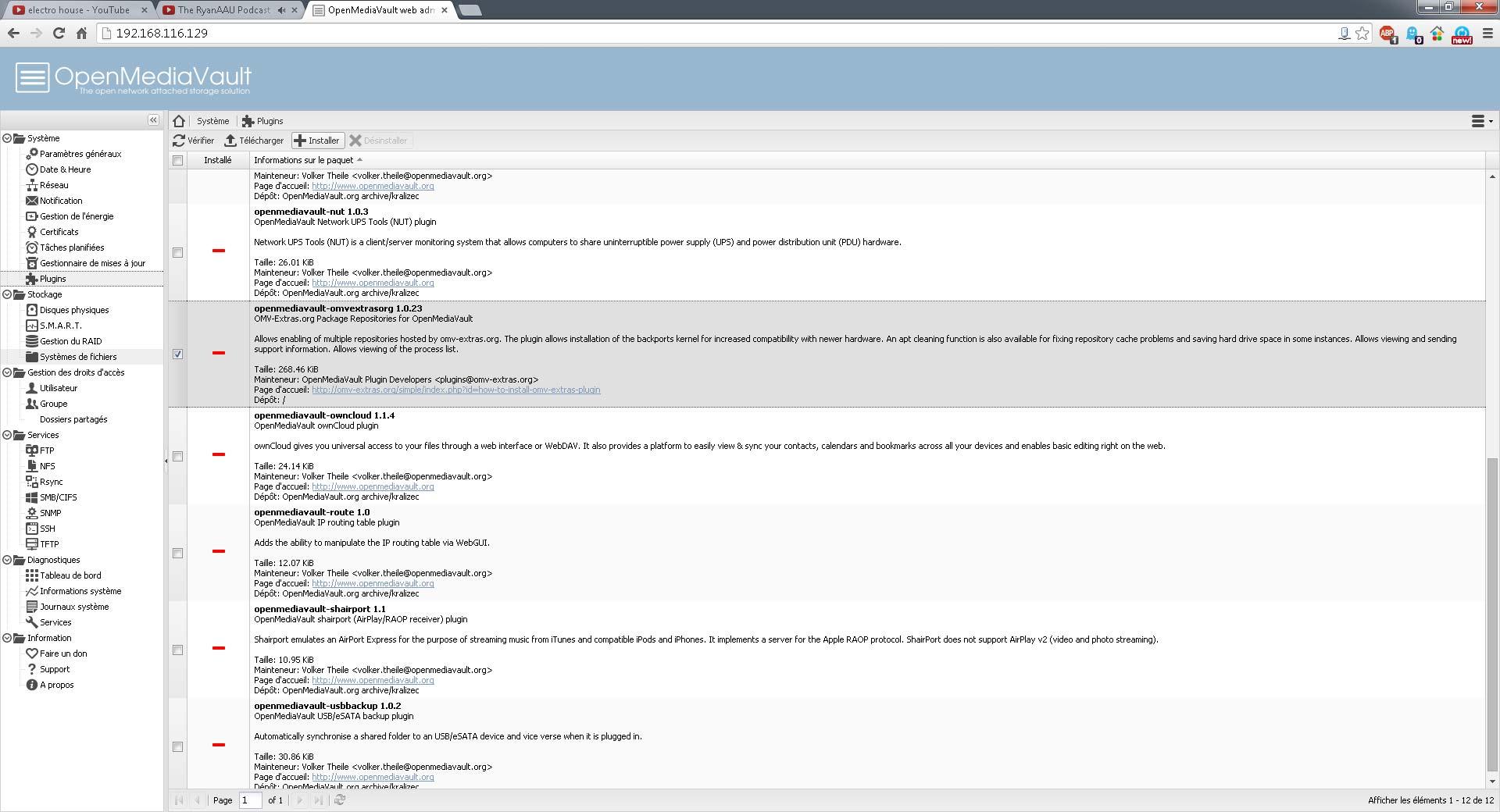 Nous avons omv-extra dans la liste des plugins disponible. Il suffit de le sélectionner et cliquer sur 'Installer'