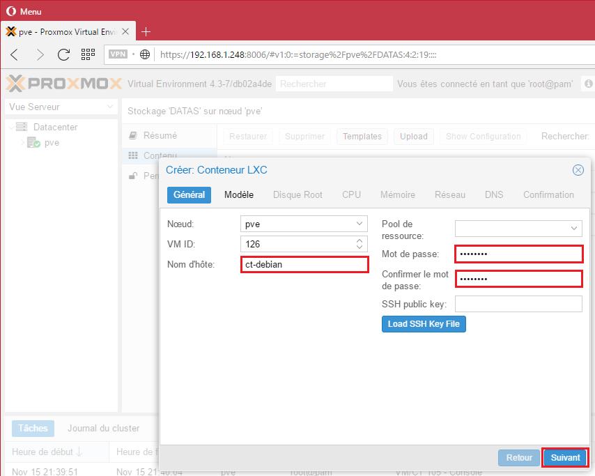 Donnez un nom à votre conteneur et un mot de passe (mot de passe root)