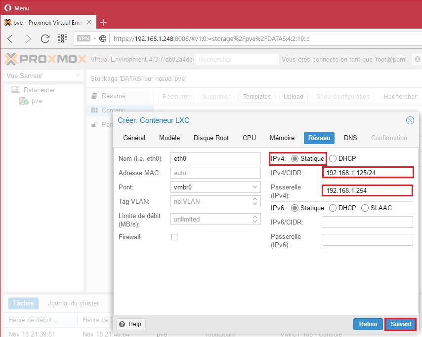 Choix du réseau soit: en IP statique