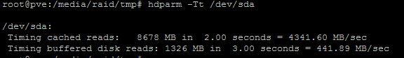 Performance hdparm du SSD