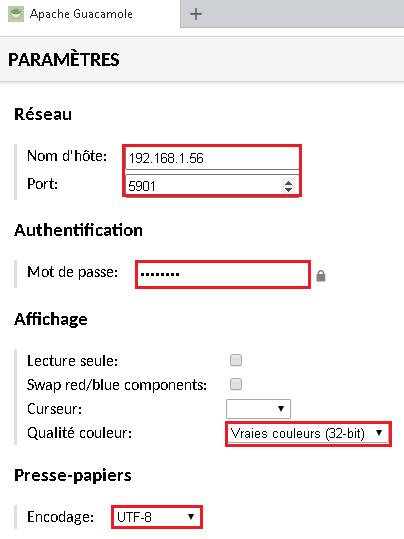 Nom dh'ôte ou IP | port par défaut 5901 | mot de passe | couleur et encodage du texte à UTF-8