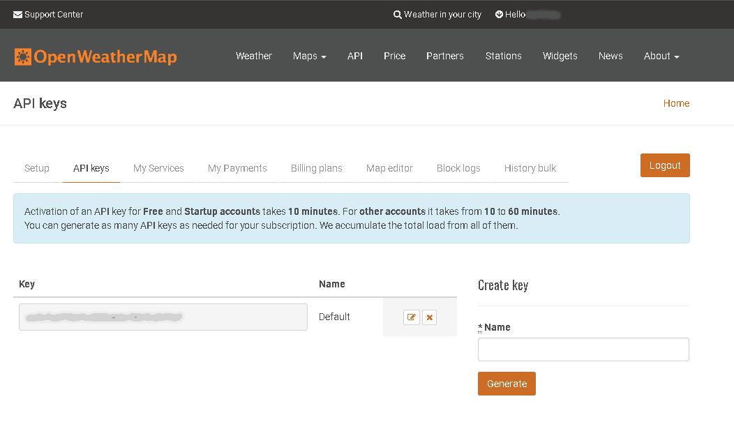 Clé API dans votre compte OpenWeatherMap.