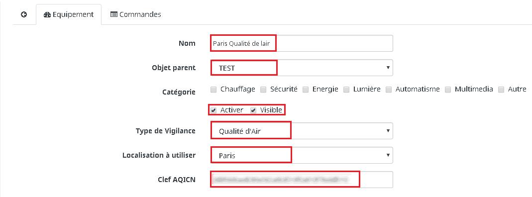 On choisi la qualité de l'air et la localisation. La clé API est obligatoire et se trouve sur le site:  http://aqicn.org/data-platform/token/#/