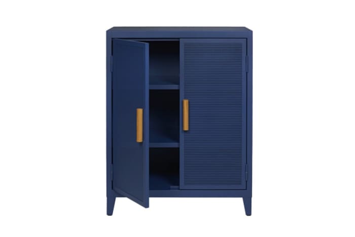 Metallic blue armoire, the perfect waste management station.