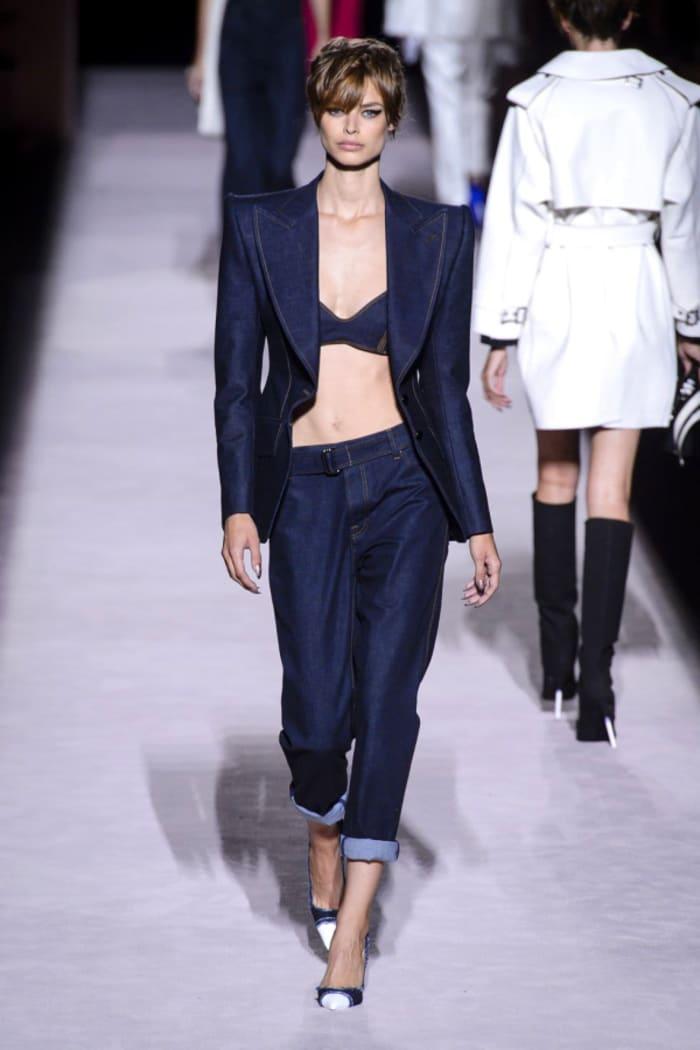 Dark denim ladies' suit, by Tom Ford.