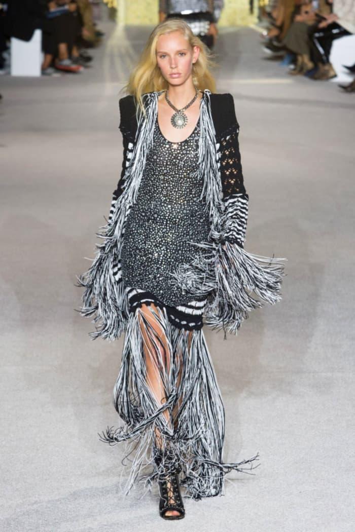 Fringed dress and jacket, by Balmain.