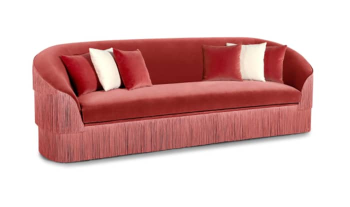 Velvet sofa with fringes on the back and sides, by Munna.