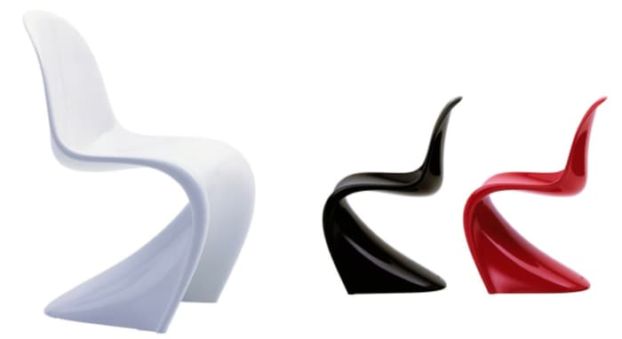 Three original Panton chairs in white, black and red.