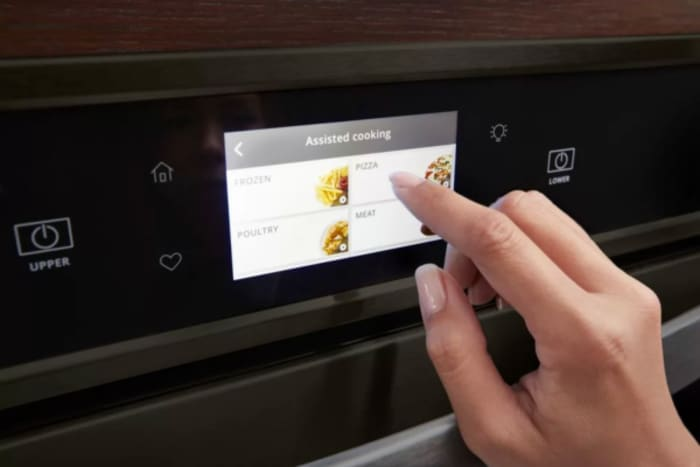 Smart kitchen innovations allow users to communicate with smart kitchen appliances through easy touchscreen menus.