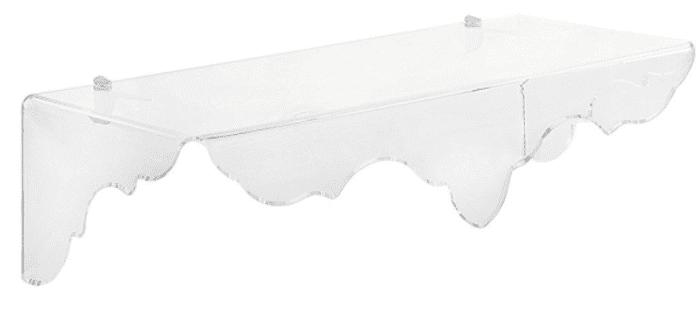 Clear plastic shelf, by Iplex Design.