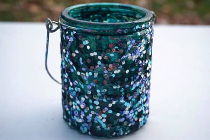 Sequin candle holder, on Etsy.