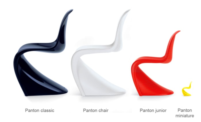 All versions of the Panton chair in line: classic, junior and miniature.