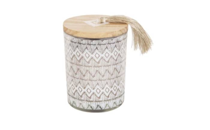 Candle in glass container with a tassel on the cap, by Maisons du Monde.