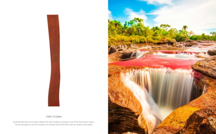 Reddish colour inspired by the river Caño Cristales, in Colombia.