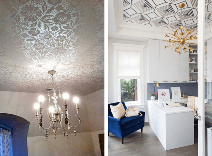 Two examples of ceilings decorated with a graphic pattern. 1: Stenciled ceiling in the tones of white reproducing a doily effect. 2: Office ceiling decorated with black and white geometric wallpaper.